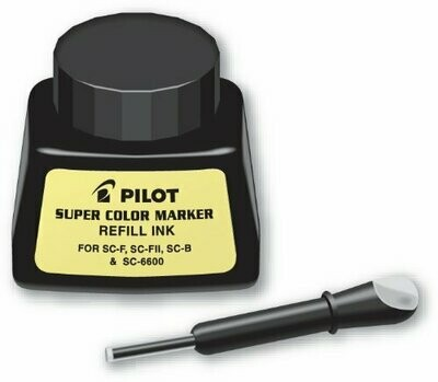 Pilot / Super Color Permanent Marker Refill Ink, Black Ink, 1 Ounce Bottle with Dropper