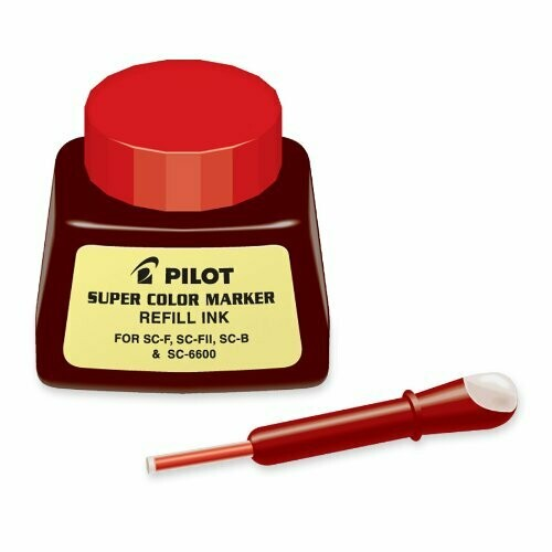 Pilot / Super Color Permanent Marker Refill Ink, Red Ink, 1 Ounce Bottle with Dropper