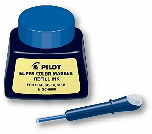 Pilot / Super Color Permanent Marker Refill Ink, Blue Ink, 1 Ounce Bottle with Dropper