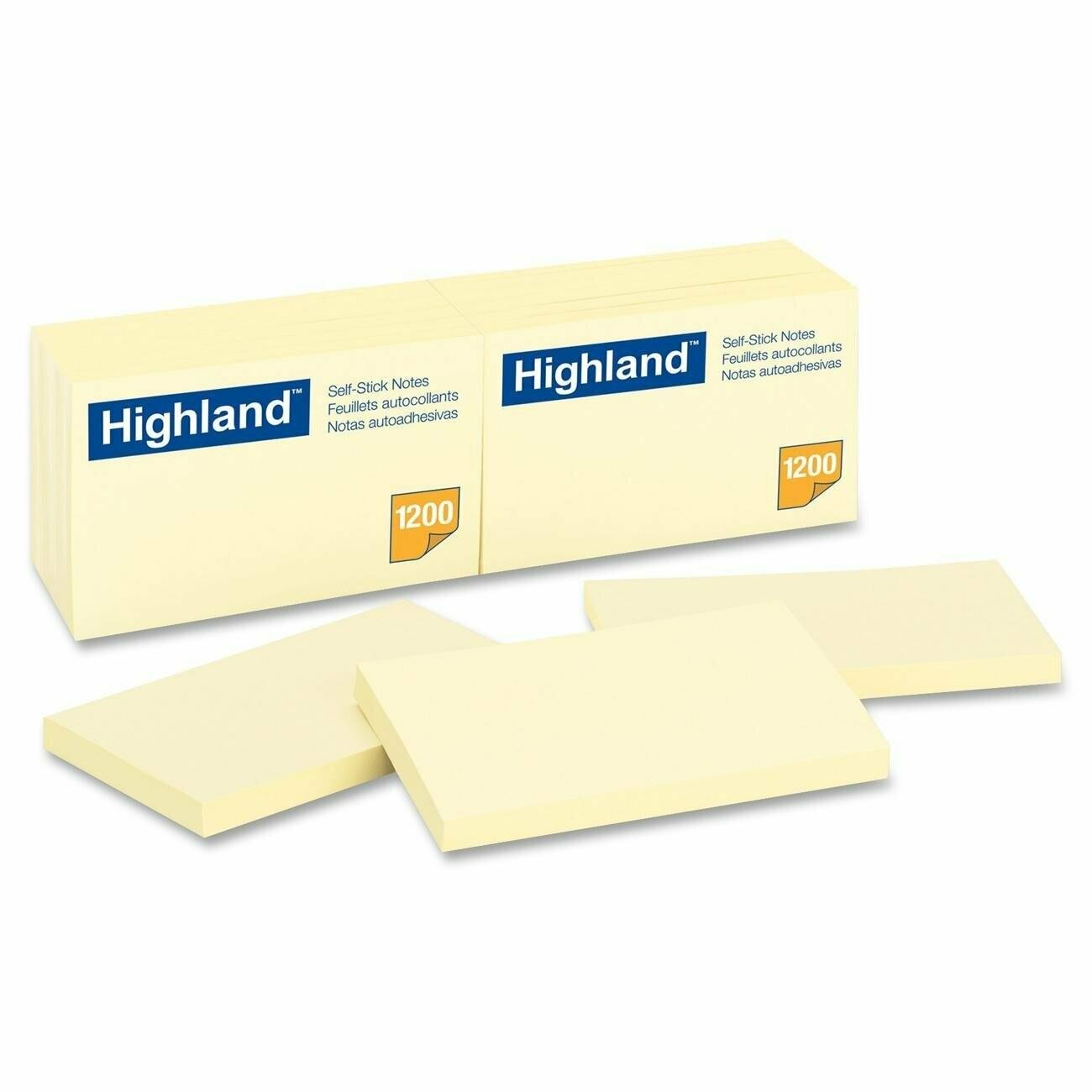 "Highland / Self-Stick Notes, 3 x 5"", Yellow"