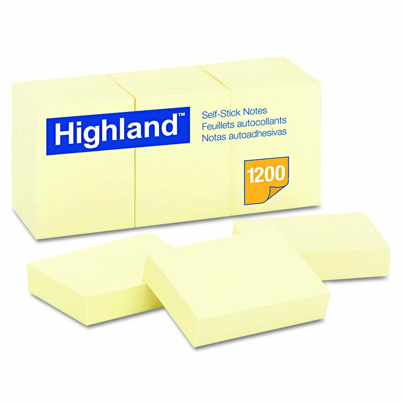 "Highland / Self-Stick Notes, 1 1/2"" x 2"", Yellow"