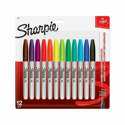 Sharpie / Permanent Markers, Fine Point, Assorted Colors, Pk-12