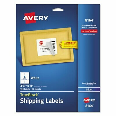 "Avery / Shipping Labels w/ TrueBlock Technology, Inkjet Printers, 3.33"" x 4"", White, 6/Sheet, 25 Sheets/Pack"