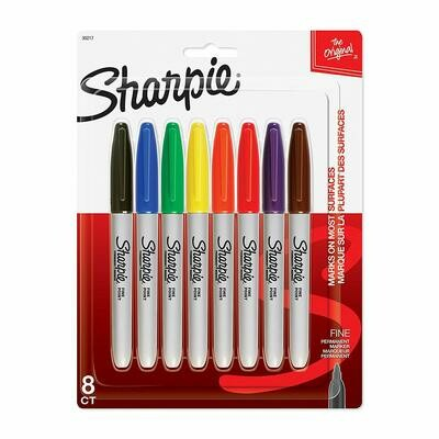 Sharpie / Permanent Markers, Fine Point, Assorted Colors, Pk-8