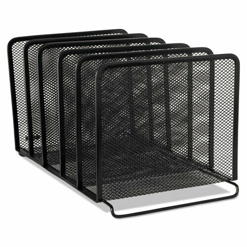 Rolodex / Mesh Stacking Sorter, 5 Sections, Letter to Legal Size Files, Black