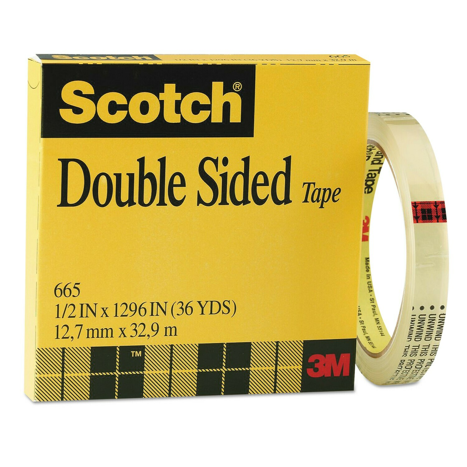 """Scotch / Double-Coated Tape, 1/2"""" x 36 yds"""