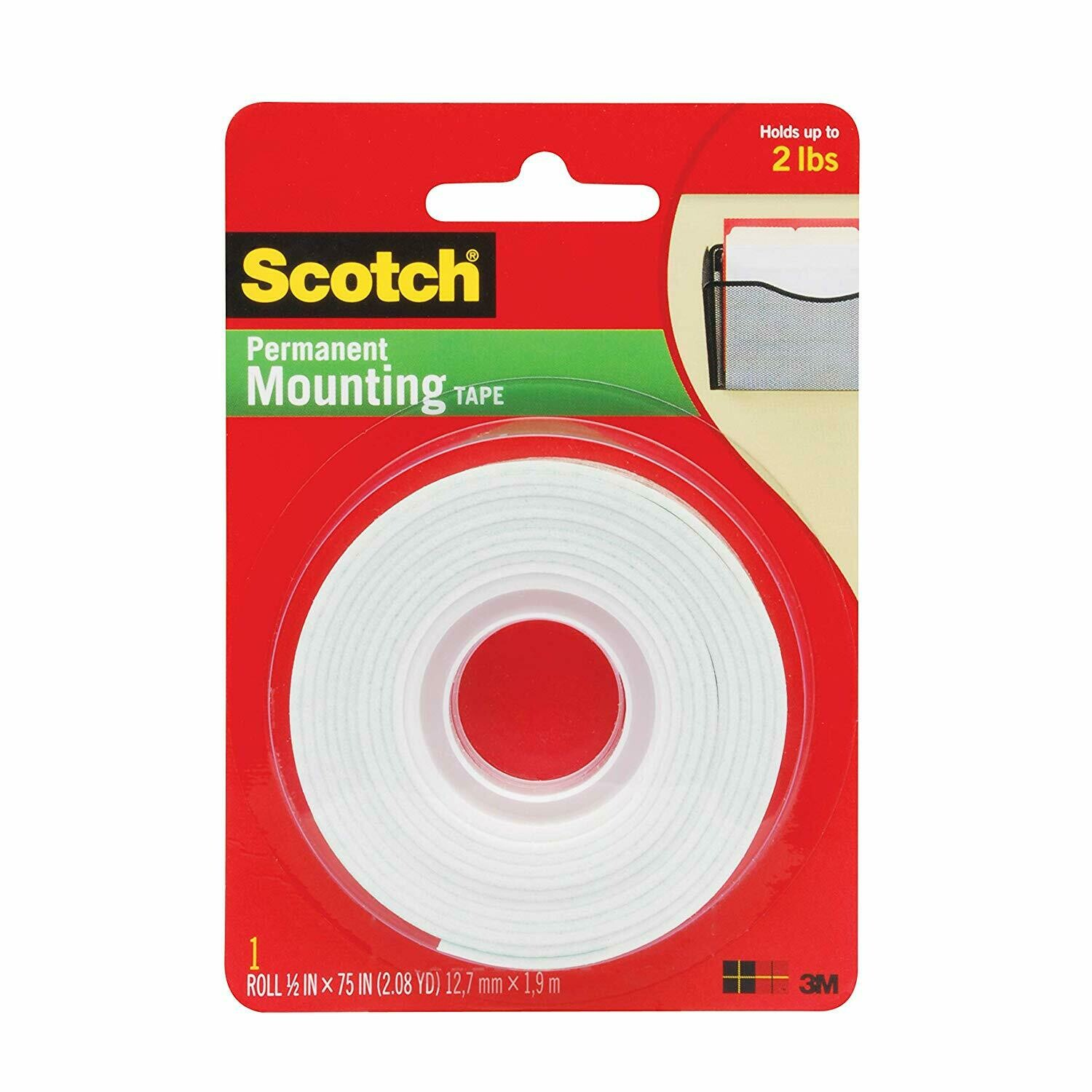 """Scotch / Indoor Mounting Tape 1/2"""" x 2 yds"""