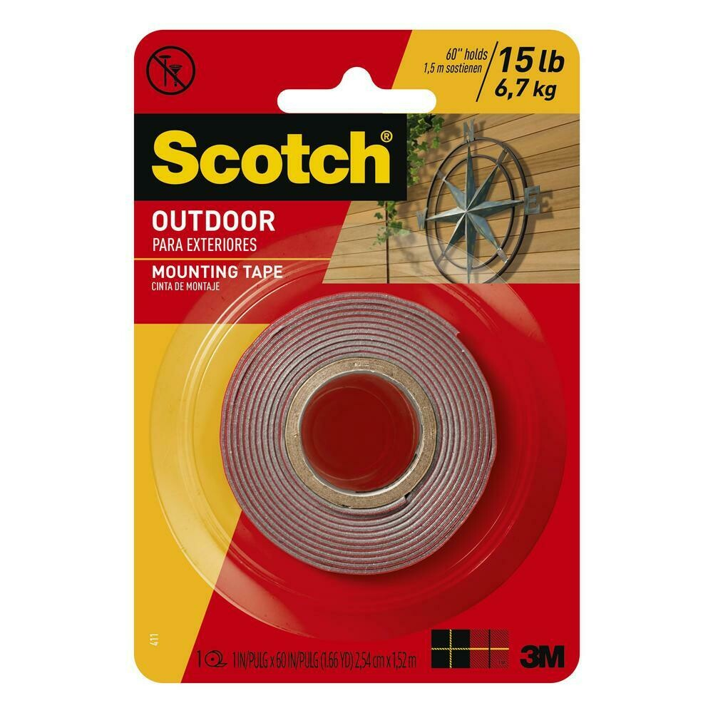 "Scotch / Permanent Double Sided Outdoor Mounting Tape 1""x 60 yds"