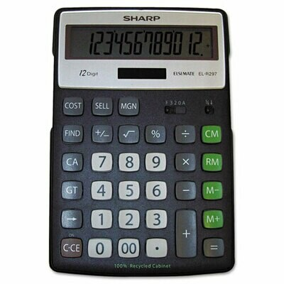 Sharp / 12 Digit  Recycled Series Calculator w/Kickstand, LCD