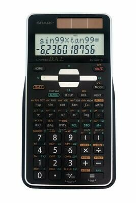 Sharp / 12-Digit Engineering/Scientific Calculator with Protective Hard Cover, Battery and Solar Hybrid Powered LCD Display, Black