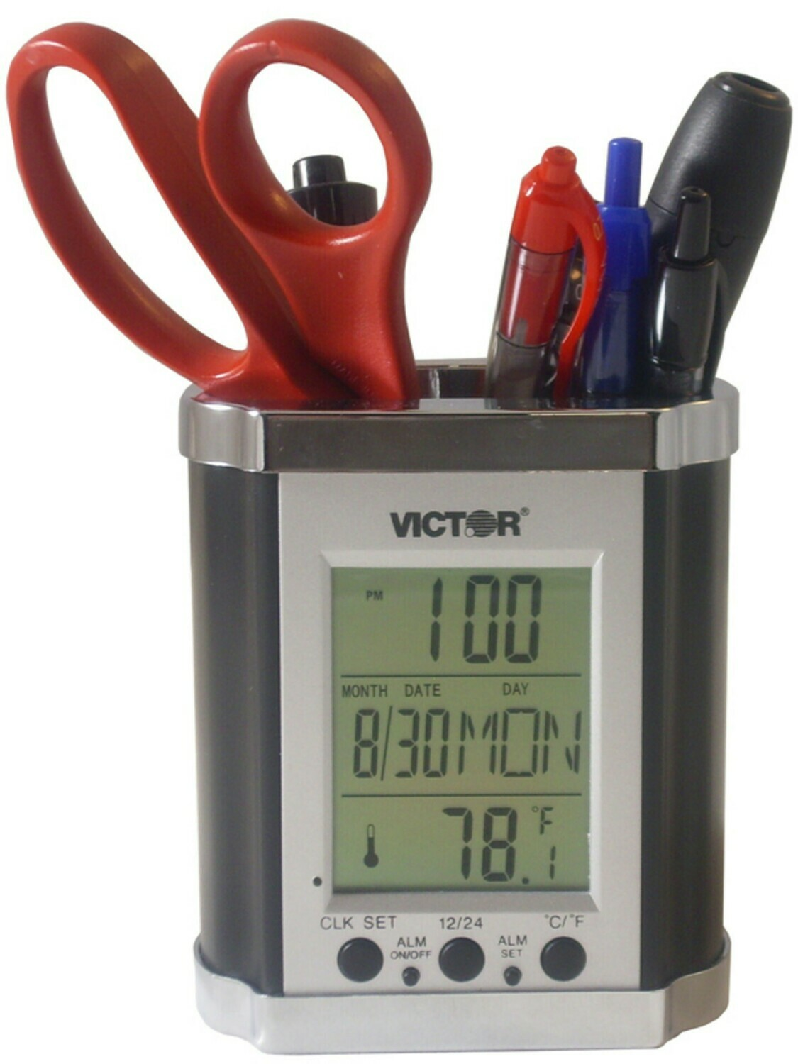Victor Technology / Electronic Pencil Holder with LCD Display-Black and Chrome