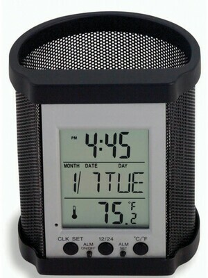 Victor Technology / Electronic Pencil Cup Pencil Holder with Electronic Display-Black Mesh