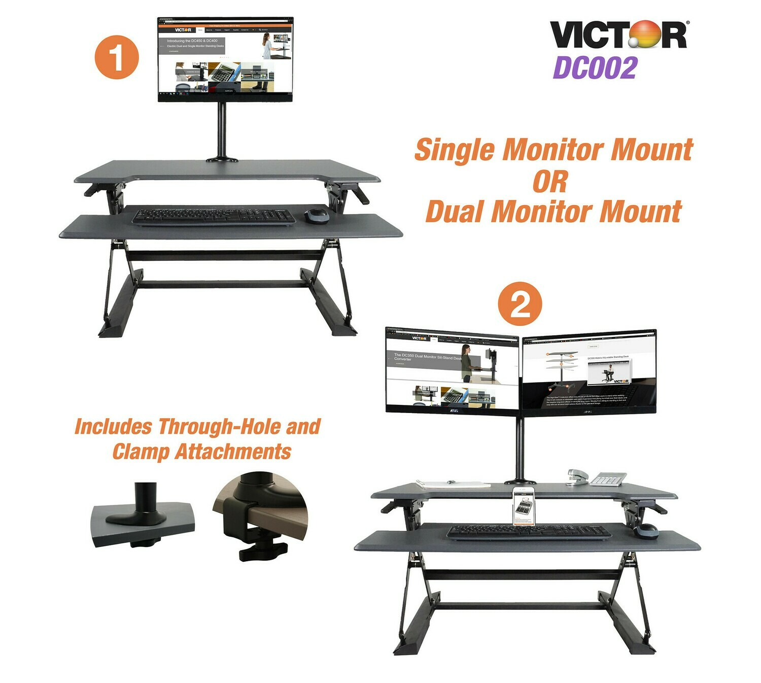 Victor Techonology / High Rise™ Monitor Mount with Single and Dual Arm Components