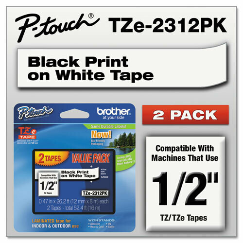 "Brother / TZe Standard Adhesive Laminated Labeling Tapes, 0.47"" x 26.2 ft, Black on White, 2/Pack"