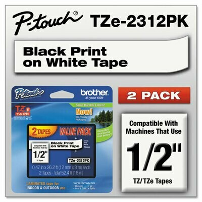Brother / TZe Standard Adhesive Laminated Labeling Tapes, 0.47