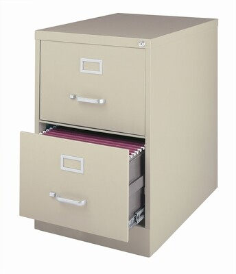 Vertical File Cabinet, 2-Drawer, LEGAL, Putty