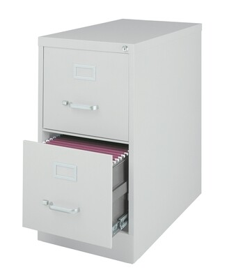 Vertical File Cabinet, 2-Drawer, LETTER, Gray