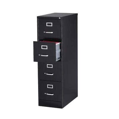 Vertical File Cabinet, 4-Drawer, LETTER, Black