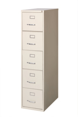 Vertical File Cabinet, 5-Drawer, LETTER, Putty