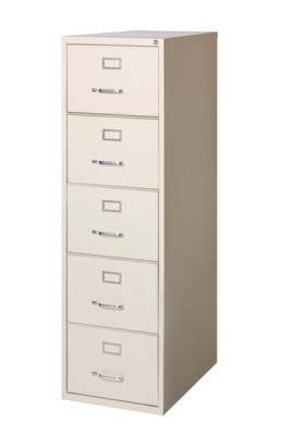 Vertical File Cabinet, 5-Drawer, LEGAL, Putty