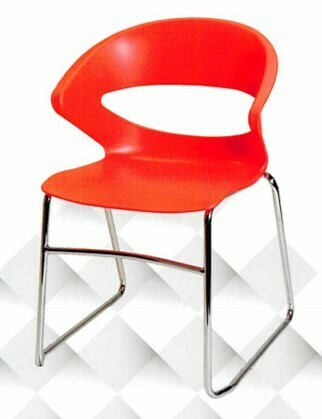 Visitor Seating, Stackable Guest Chair Polypropylene with Chrome Sled Base