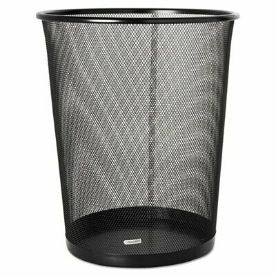 Rolodex / Steel Round Mesh Trash Can, 4.5 gal, Black