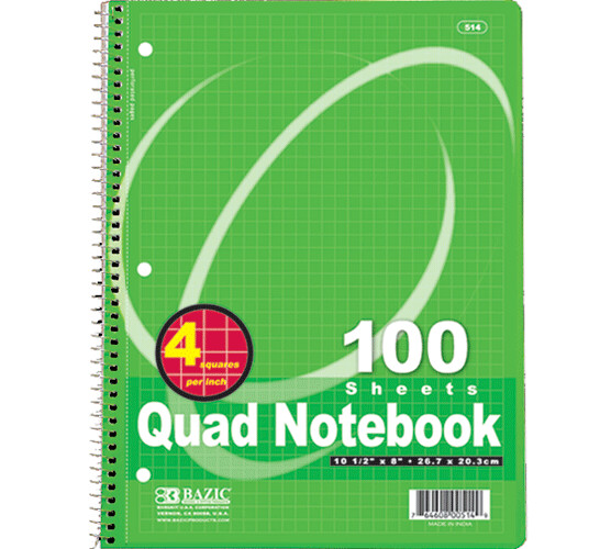 Bazic / Quad-Ruled 4-1 Spiral Notebook 100 Ct.