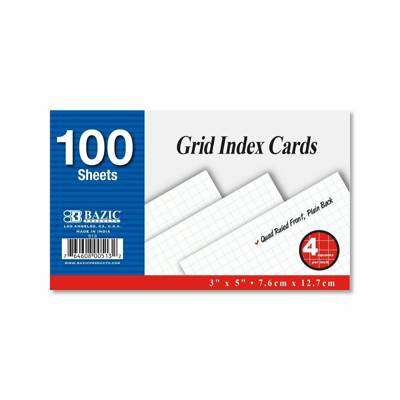 "Bazic / Index Card 3"" X 5"" White , Quad Ruled 4-1, 100 Ct."