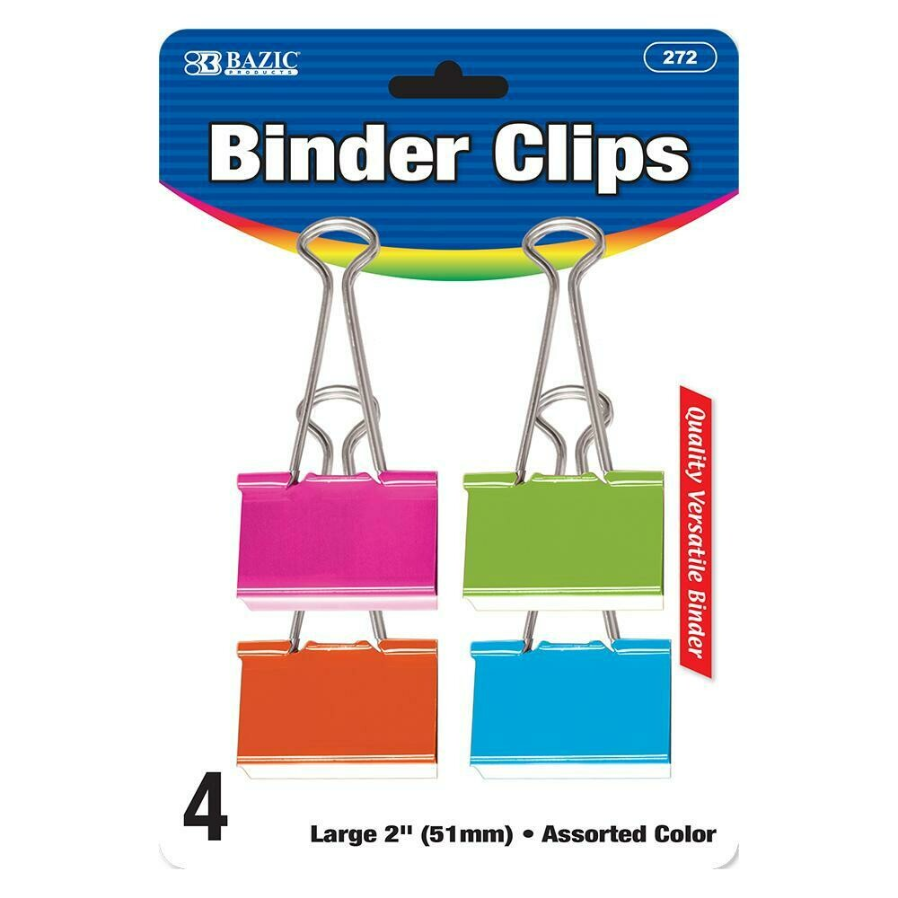 "Bazic /  Binder Clip, Large 2"" Assorted Color , Pk-4"