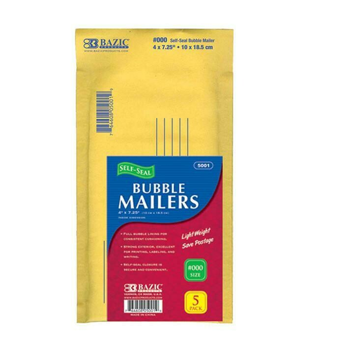 "Bazic / 4"" X 7.25"" (#000) Self-Seal Bubble Mailers, Pk-5"