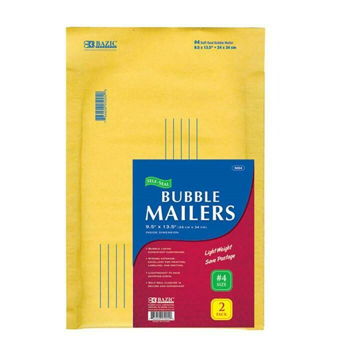"Bazic /  Bubble Mailers (#4) 9.5"" X 13.5"" Self-Seal, Pk-2"