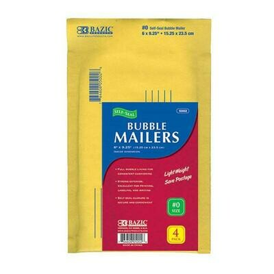 "Bazic / Bubble Mailers (#0) 6"" X 9.25"", Self-Seal Pk-4"
