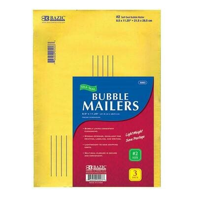 "Bazic /Bubble Mailers (#2) 8.5"" X 11.25"" Self-Seal , Pk-3"