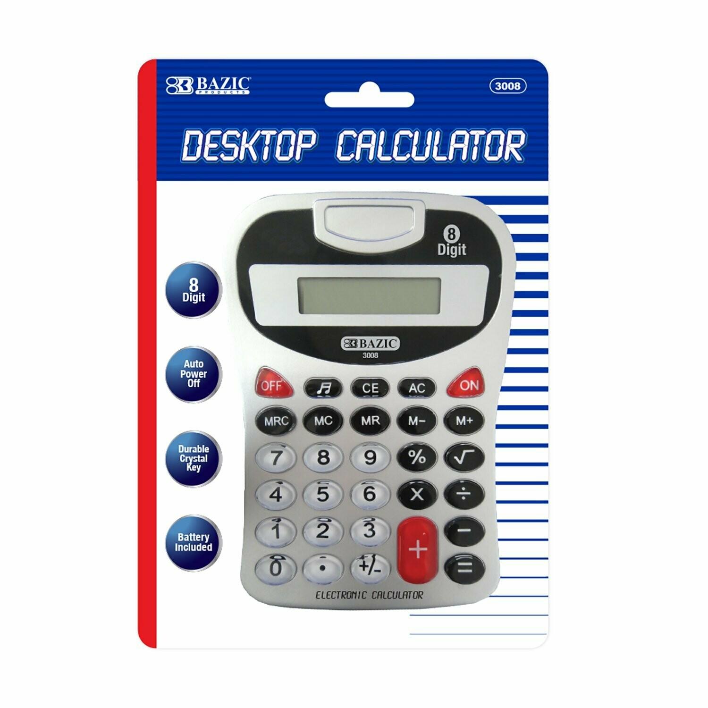 Bazic / 8-Digit Silver Desktop Calculator w/ Tone