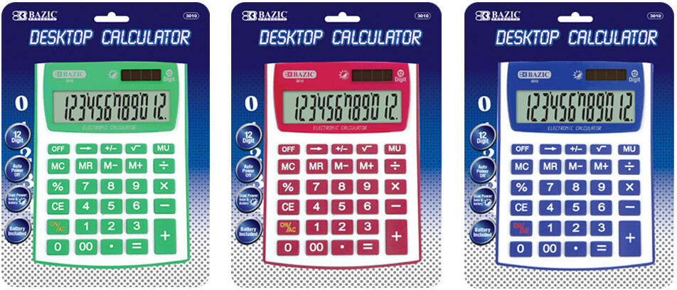 Desktop Calculator - Fancy Color - 12-Digit Dual Power