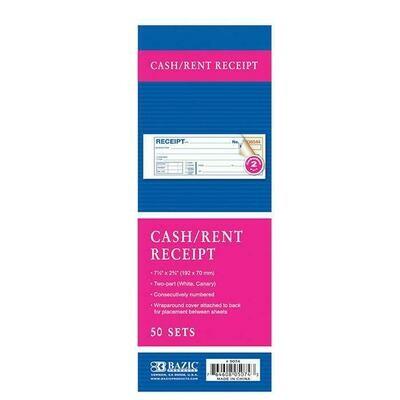 Cash/Rent Receipt book / 2-Part Carbonless, 50 Sets, 7 1/2