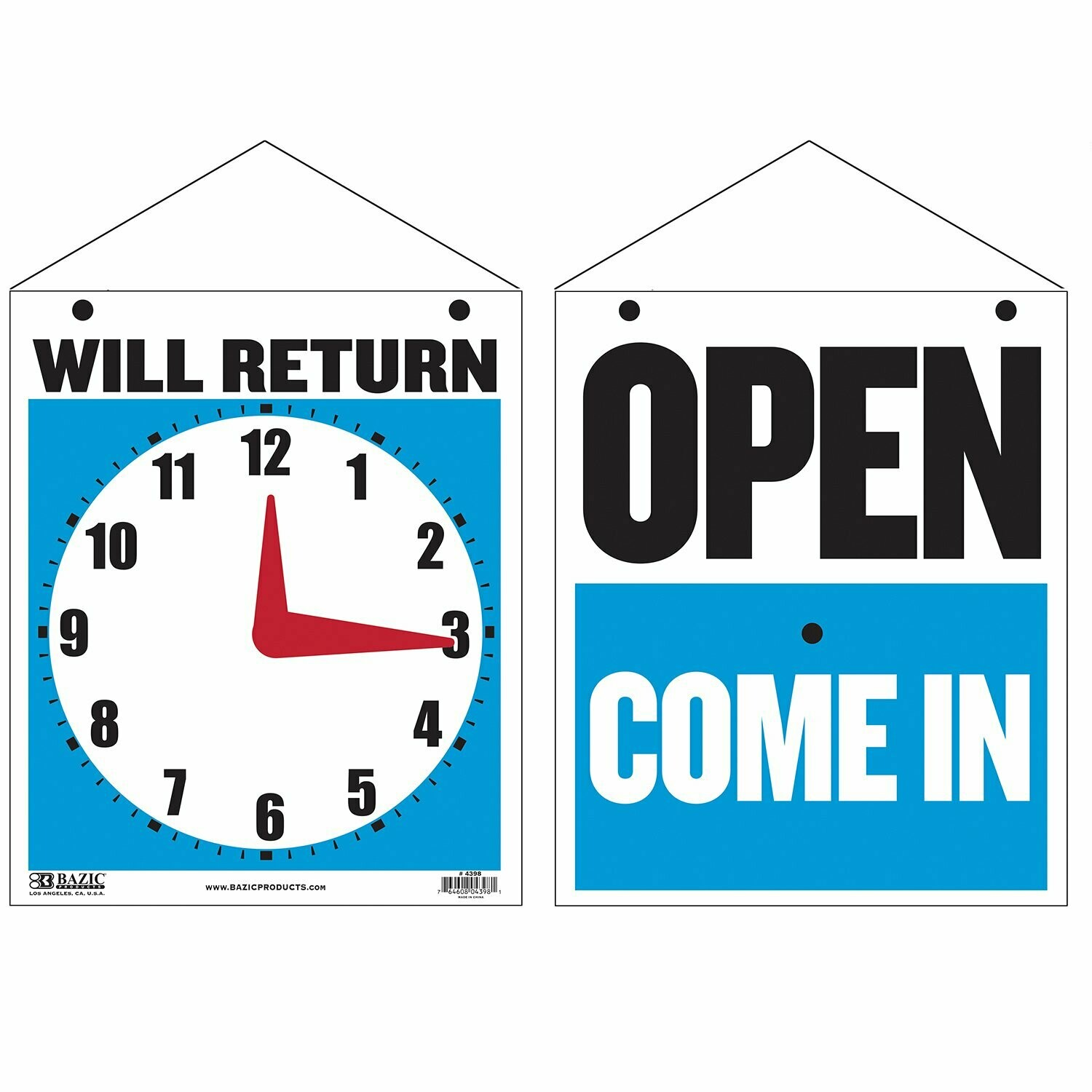 """Bazic / Sign """"WILL RETURN"""" Clock w/ """"OPEN"""" sign on back, 7.5"""" X 9"""""""