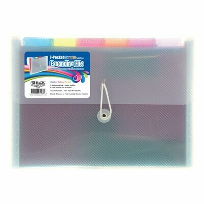 Bazic / Expanding File Rainbow 7-Pocket Letter Size Poly