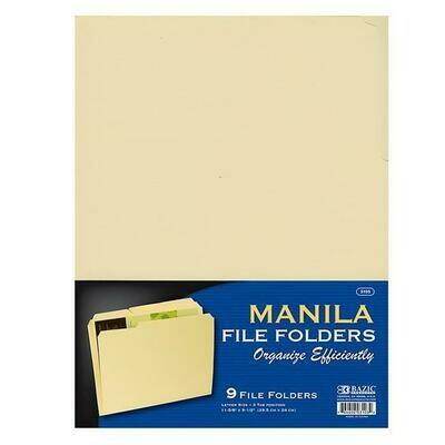Bazic / File Folder,1/3 Cut, Letter Size, Manila [pk-9]