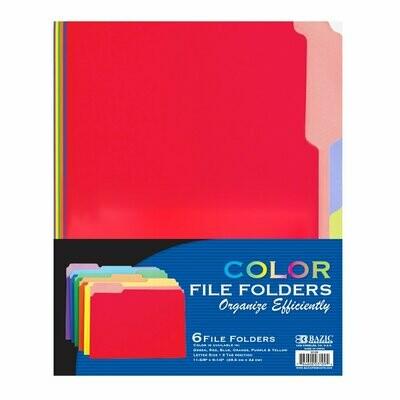 File Folder, 1/3 Cut, Letter Size, Colored/ Bazic (pk-6)