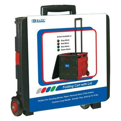 Bazic /Red Folding Cart on Wheels w/ Lid Cover