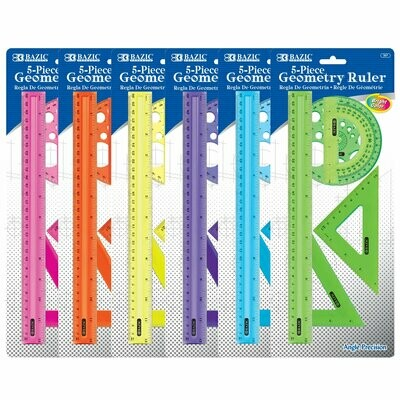Bazic / 5-Piece Geometry Ruler Combination Sets