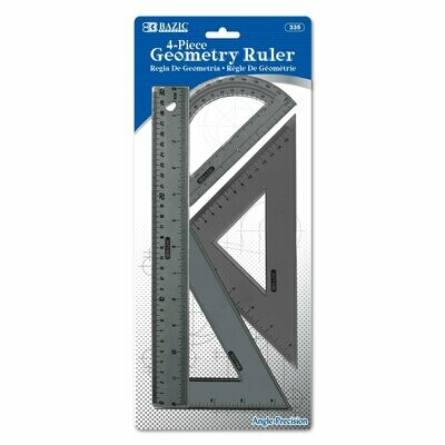 Bazic / 4-Piece Geometry Ruler Combination Sets