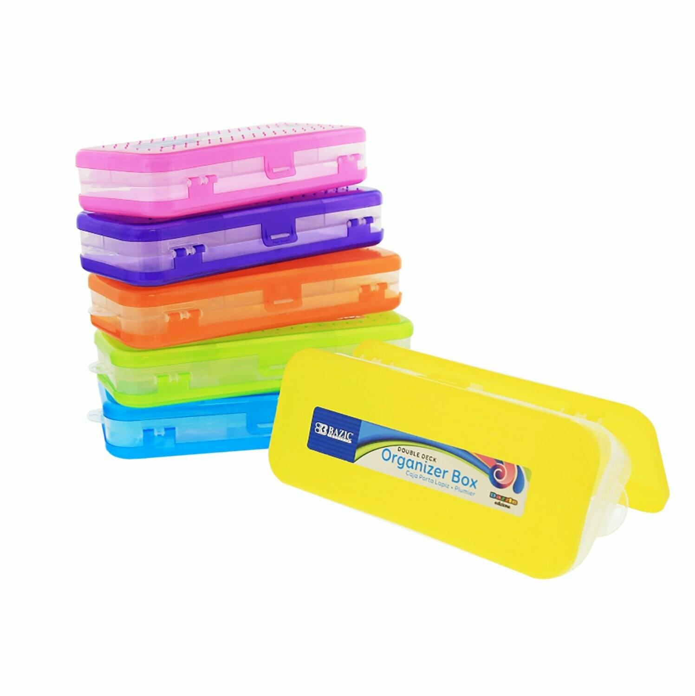 """Bazic / Organizer Box 8"""" Bright Color, Double Deck"""