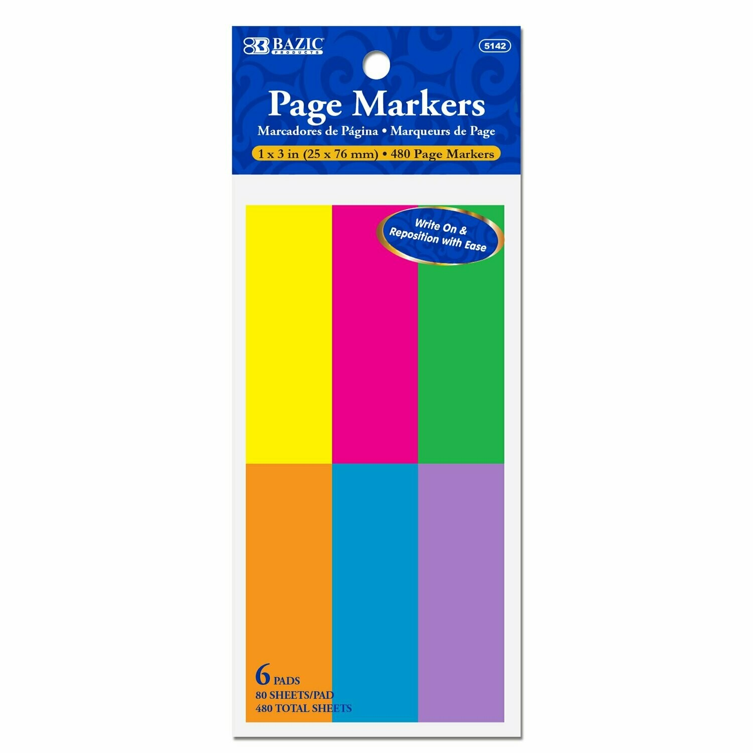 """Bazic / Neon Page Markers 1""""x 3"""""""