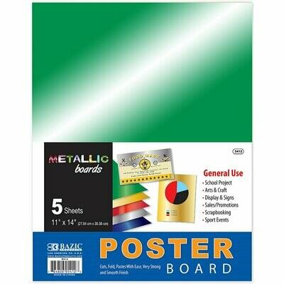 """Bazic / Poster Board Metallic 11"""" X 14"""", Pk-5"""
