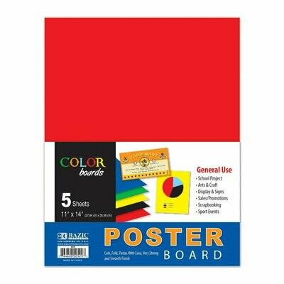 """Bazic / Poster Board Multi Color 11"""" X 14"""", Pk-5"""