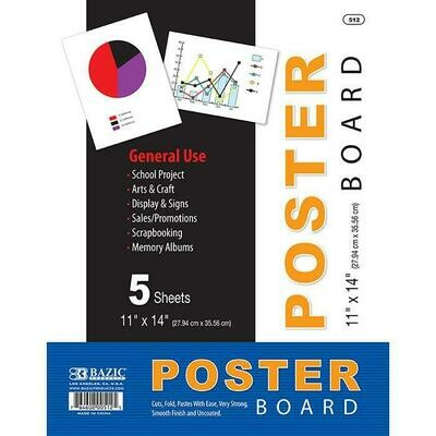 """Bazic / Poster Board White 11"""" X 14"""", Pk-5"""