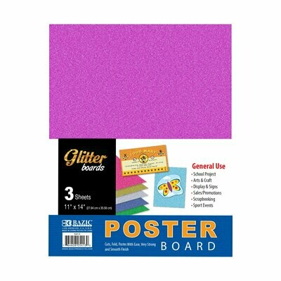 "Bazic / Poster Board Glitter 11"" X 14"", Pk-3"