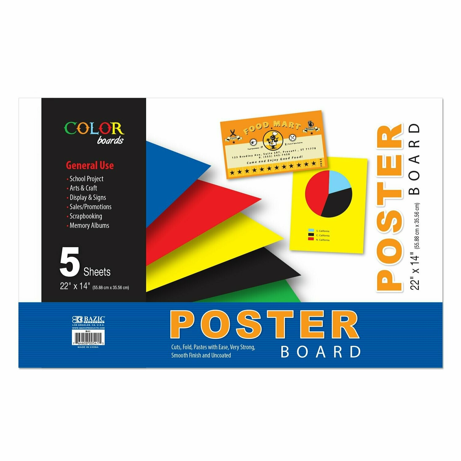 "Bazic / Poster Board Assorted Color 22"" X 14"", Pk-5"